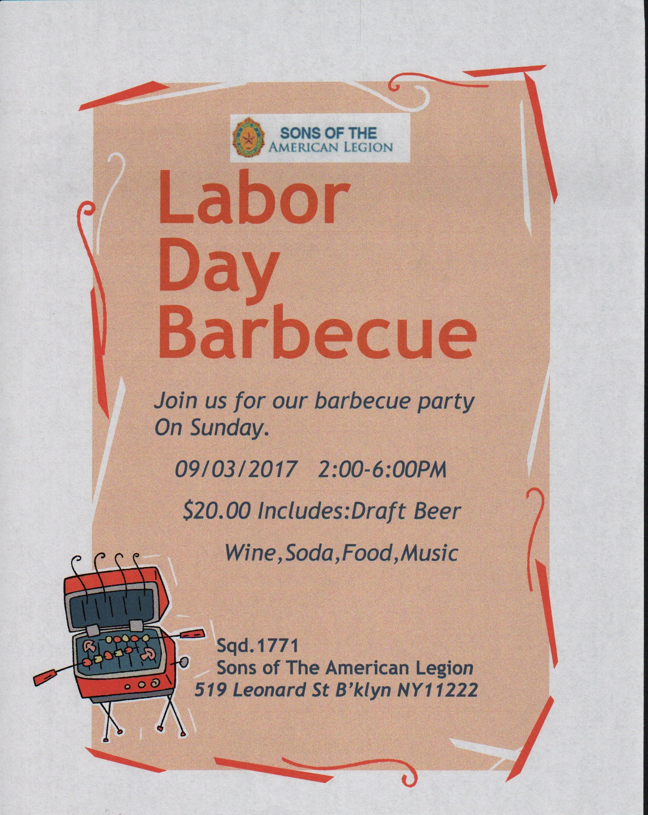 Labor Day Sept 3,2017 BBQFlyer